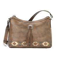 American West Handbag A Native Sun Collection: Leather Zip Top Western Shoulder Bag