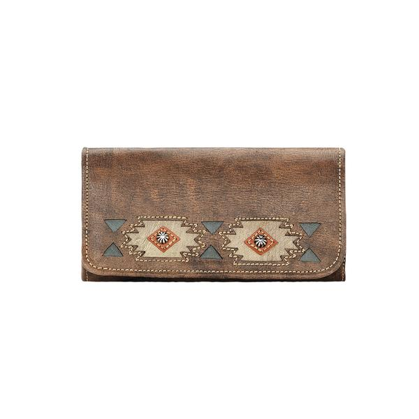 American West Handbag A Native Sun Collection: Leather Tri-Fold Western Wallet