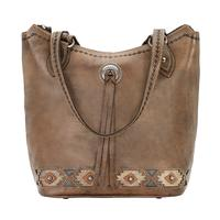 American West Handbag A Native Sun Collection: Leather Zip Top Western Bucket Tote