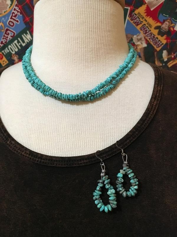 A Two Grey Hills: Blue Turquoise Necklace and Earring Set DEAL