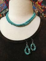 ZSold Two Grey Hills: Blue Turquoise Necklace and Earring Set DEAL