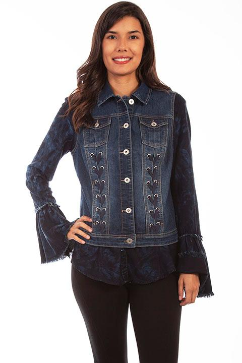 Scully Ladies' Honey Creek Collection Vest: Denim Lace Up Panels