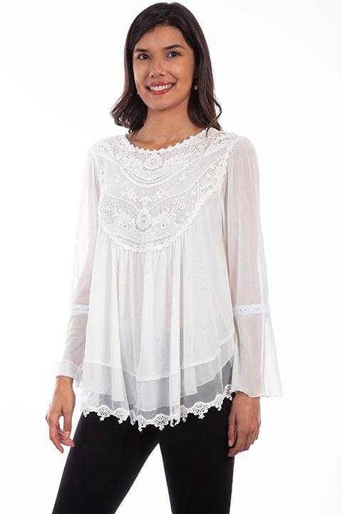 A Scully Ladies' Honey Creek Blouse: Embroidered Lace Tunic