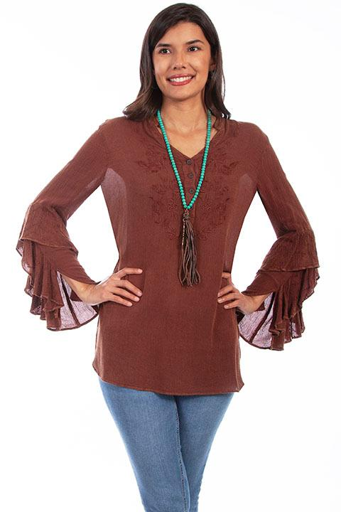 A Scully Ladies' Honey Creek Blouse: A Ruffle Cuffs Tunic