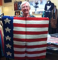 Saddle Blanket: 36x34 Abetta Flag Design Old Glory Wool