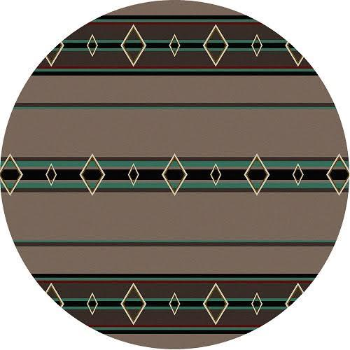 American Dakota Rug: Cabin & Camp Collection Old Timer Turquoise 8' Round Drop Ship