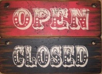 Cowboy Brand Furniture: Wall Sign-Business-Open Closed Set