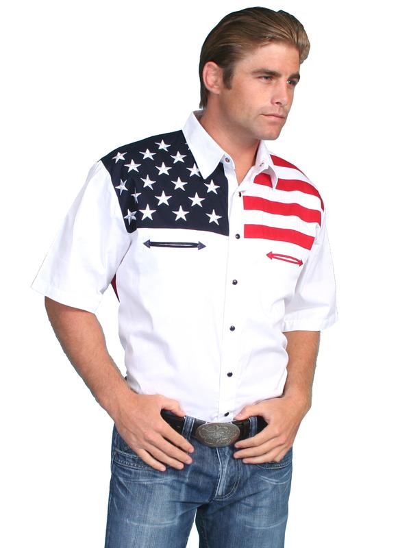Scully Men S Vintage Western Shirt The Patriot Short Sleeve