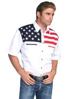 Scully Men's Vintage Western Shirt: The Patriot Short Sleeve