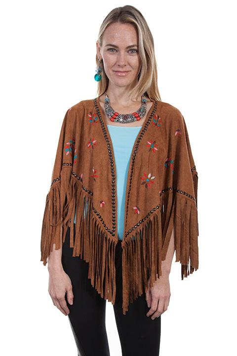 A Scully Honey Creek Collection Accessory: Wrap Faux Suede Cape with Feathers S-XL