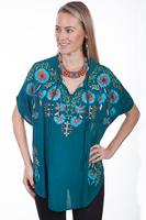 Scully Ladies' Honey Creek Collection Blouse: A Embroidered Poncho with Floral Embroidery L SALE
