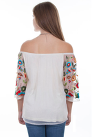 Scully Ladies' Honey Creek Blouse: Floral Embroidered Mesh SALE
