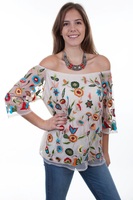 A Scully Ladies' Honey Creek Collection Blouse: Floral Embroidered Mesh SALE