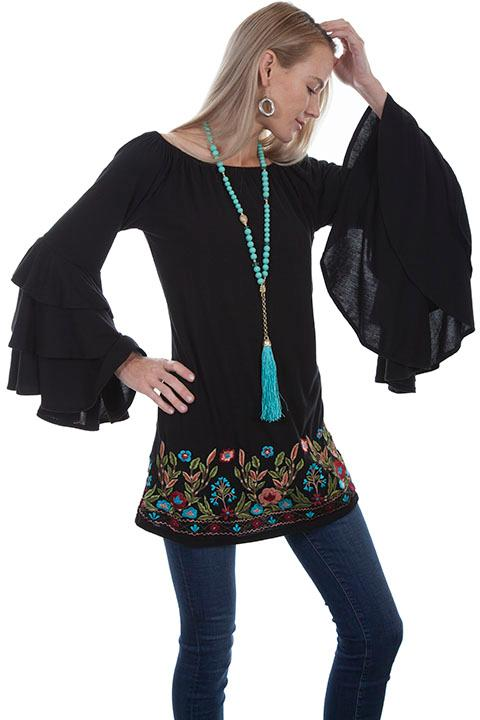 A Scully Ladies' Honey Creek Collection Blouse: Ruffled Sleeve Tunic