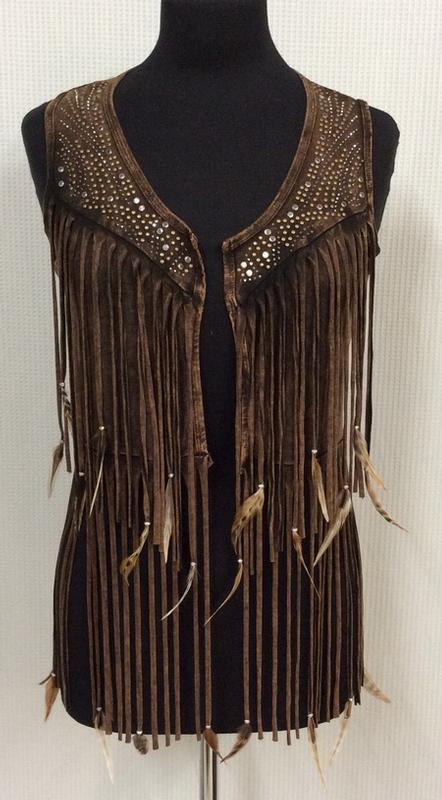 A Pat Dahnke Signature Collection: Distressed Feather Short Vest S-L