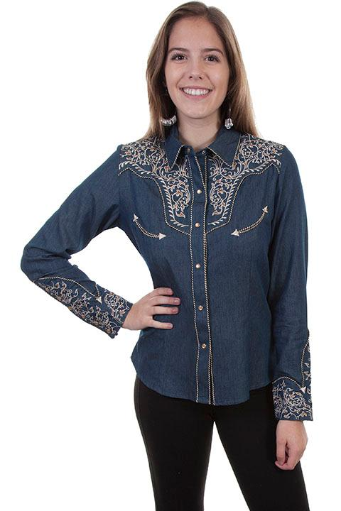 A Scully Ladies' Vintage Western Shirt: Two Tone Scroll Embroidery Denim
