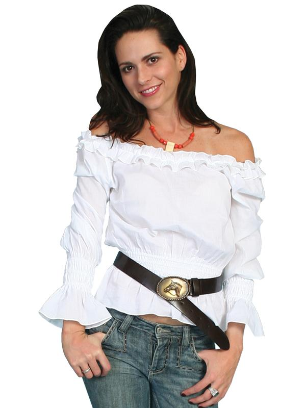 Scully Ladies' Honey Creek Collection Blouse: The Steampunk Peasant Ruffle White S-XL