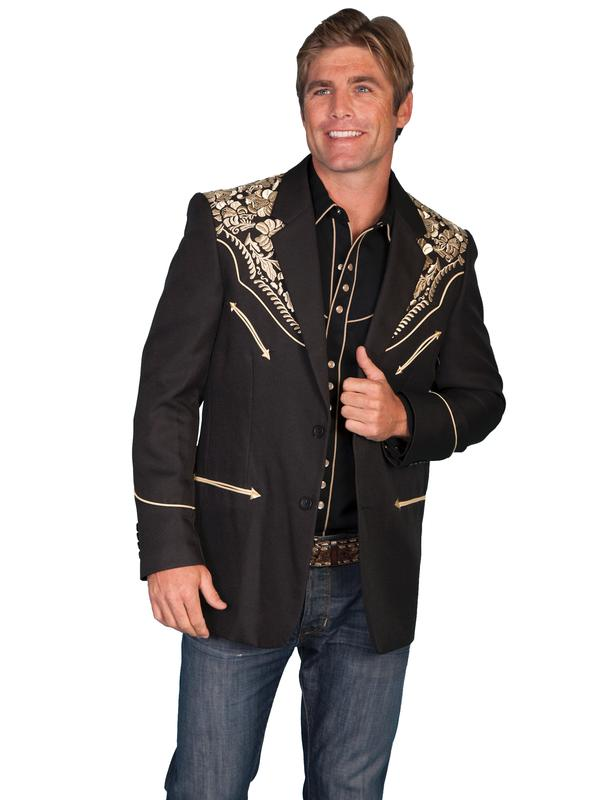 Scully Men's Jacket: Western Blazer Black w Gold Embroidery 40-50 Long