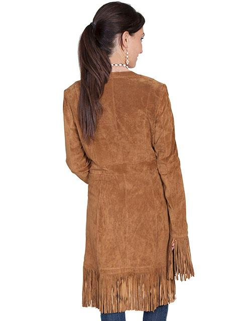 A Scully Ladies Leather Suede Jacket Western Fringe Coat