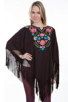 Scully Ladies' Honey Creek Collection Accessory: Wrap with Fringe Embroidered Chocolate S-XL