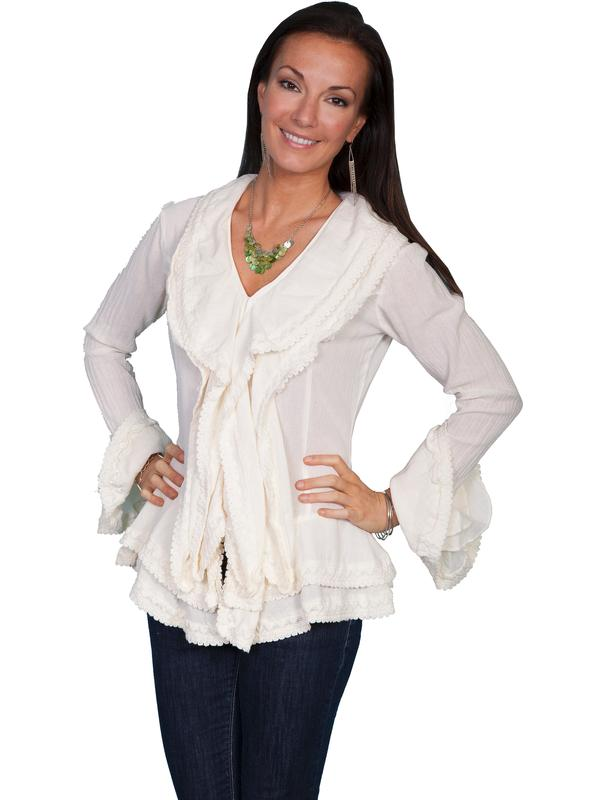 Scully Ladies' Honey Creek Collection Blouse: Long Sleeve Front Ruffle Natural M-2XL