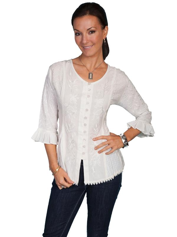 Scully Ladies' Honey Creek Collection Blouse: 3/4 Sleeve Blouse Ivory Backordered