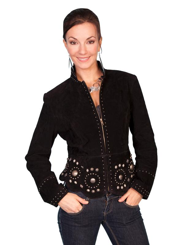 A Scully Ladies' Leather Suede Jacket: Western Studs and Conchos DEAL