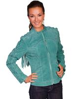 A Scully Ladies' Leather Suede Jacket: Western Fringe with Lacing on the Sleeve Turquoise S-2XL SALE