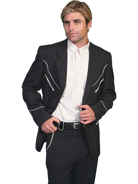 Scully Men's Jacket: Western Blazer Classic Black w White Trim Regular and Big/Tall