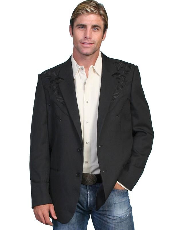 Scully Men's Jacket: Western Blazer Embroidery Black on Black Regular and Big/Tall