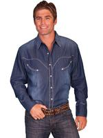 Scully Men's Vintage Western Shirt: Whip Stitch Denim M SALE
