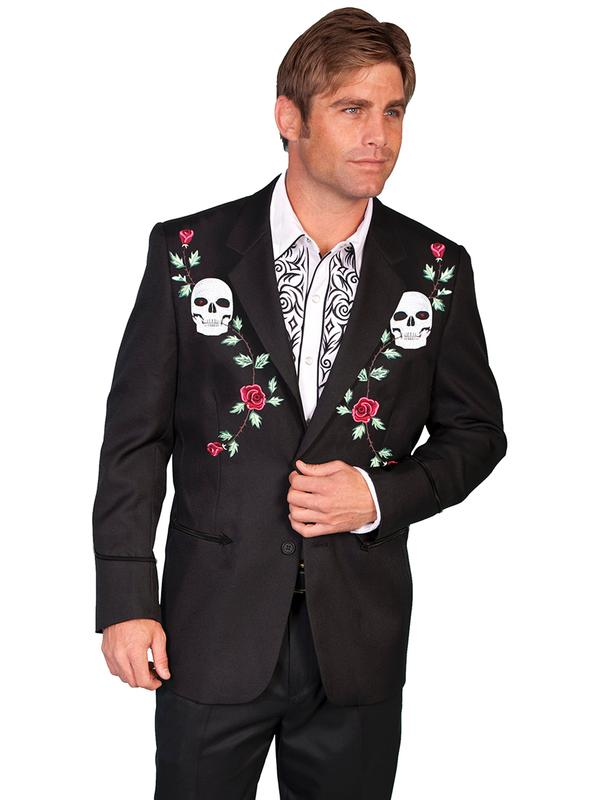 Scully Men's Jacket: Western Blazer Black with Skulls and Roses Embroidery Regular and Big/Tall Sizes