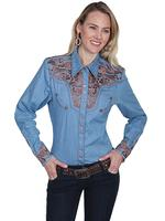 A Scully Ladies' Vintage Western Shirt: The Gunfighter Denim with Rust