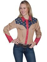 A Scully Ladies' Vintage Western Shirt: Patriotic Shirt with Pic Stitch M-2XL
