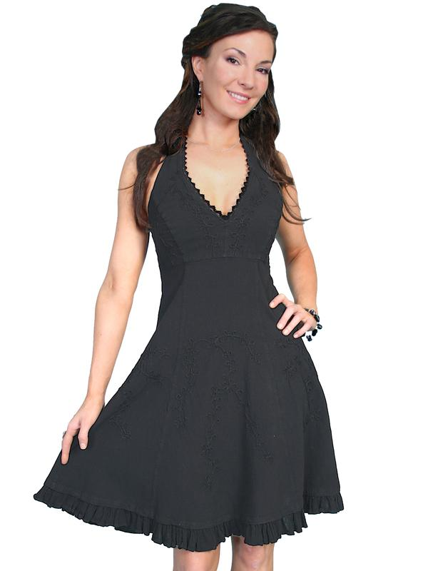 Scully Ladies' Cantina Collection Dress: Halter Style Ruffle Hem Black