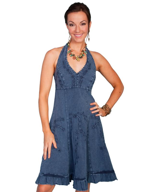 Scully Ladies' Cantina Collection Dress: Halter Style Ruffle Hem Dark Blue S-2XL