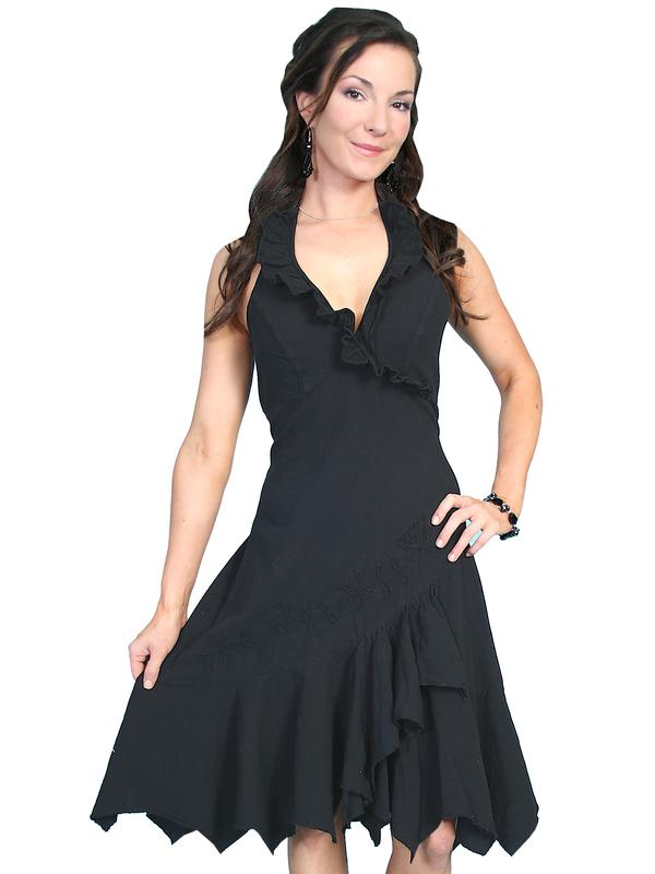 Scully Ladies' Cantina Collection Dress: A Halter With Ruffle Black S-2XL