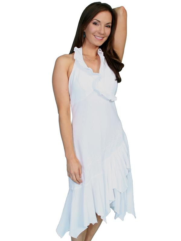 Scully Ladies' Cantina Collection Dress: A Halter Style with Ruffle White L-2XL