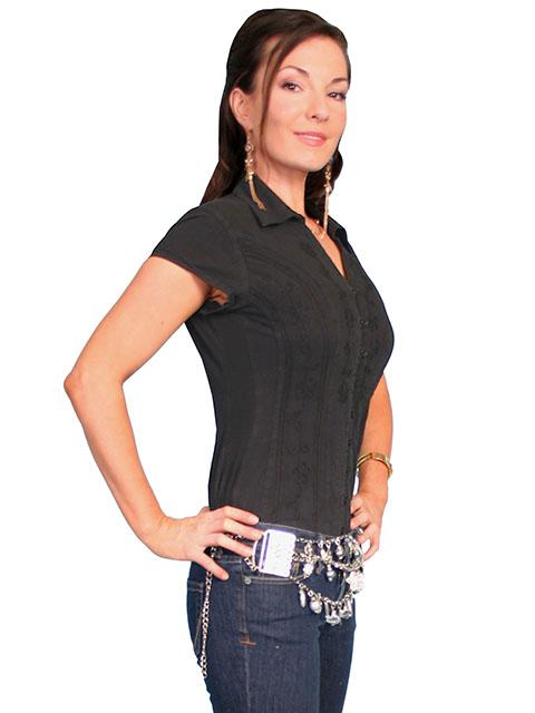 866a52521325 Scully Ladies' Cantina Collection Blouse: Cap Sleeve with Floral Vine  Soutache Black Backordered ...