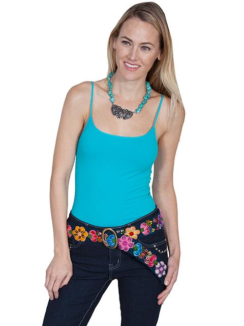 A Scully Cantina Collection Belt: Floral Embroidery Blue One Size