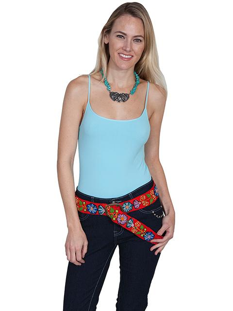 A Scully Cantina Collection Belt: Floral Embroidery Red One Size