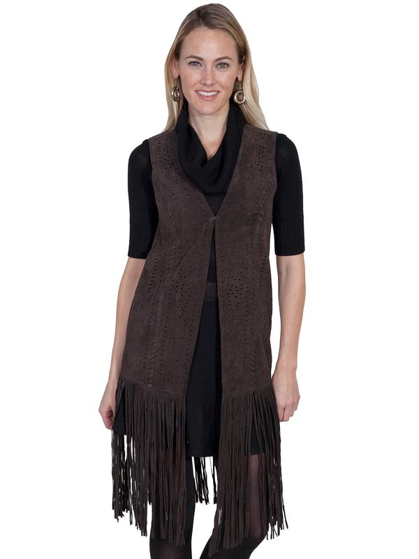 A Scully Ladies' Leather Suede Vest: A Fringe Vest Long Chocolate SALE