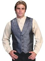 Scully Men's Old West Vest: Rangewear Shawl Collar Paisley Grey