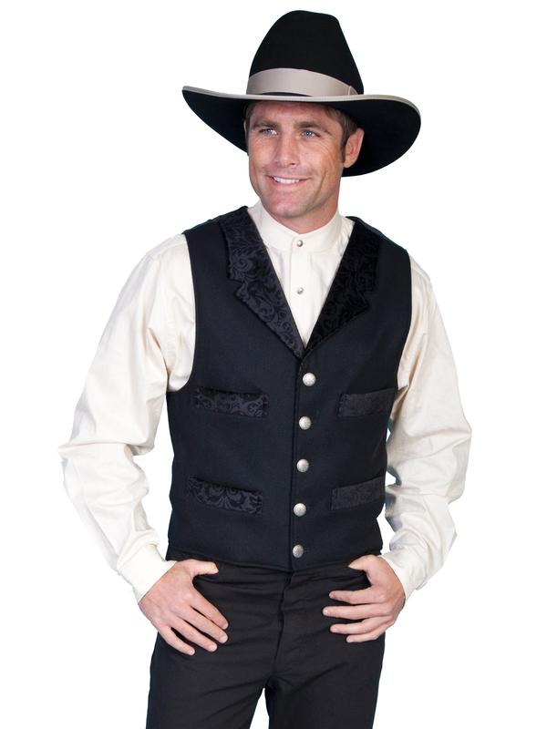 Scully Men's Old West Vest: Wahmaker Wool Velvet Lapel Black