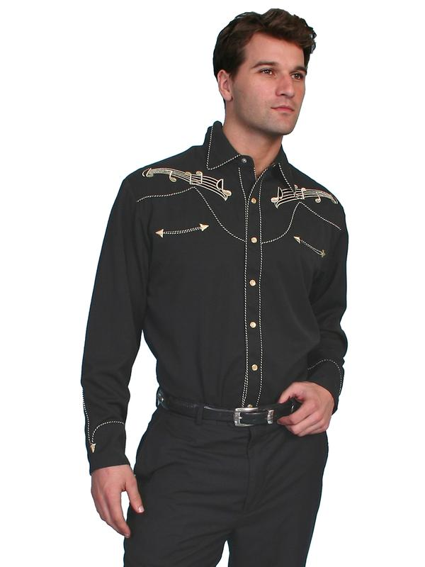 Scully Men's Vintage Western Shirt: Musical Notes Gold