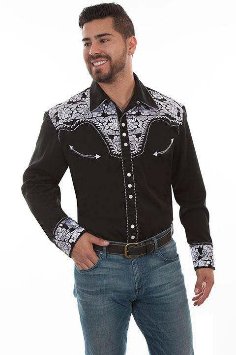 Scully Men's Vintage Western Shirt: The Gunfighter  Black & White