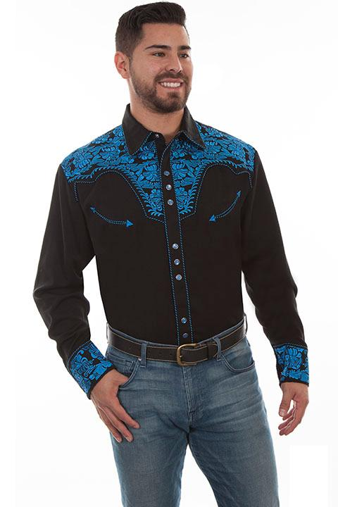 Scully Men's Vintage Western Shirt: The Gunfighter Black & Royal