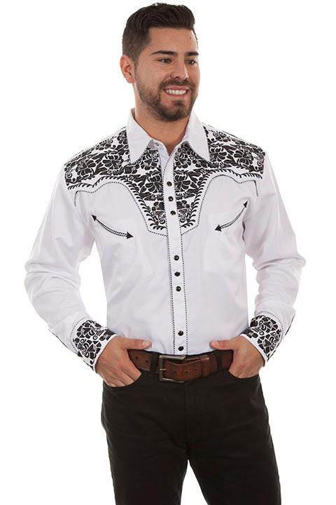 Scully Men's Vintage Western Shirt: The Gunfighter White & Black Pre-Order