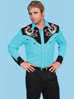 Scully Men's Vintage Western Shirt: Horseshoes and Roses Turquoise S-2X, Big/Tall 3X-4X Back Ordered