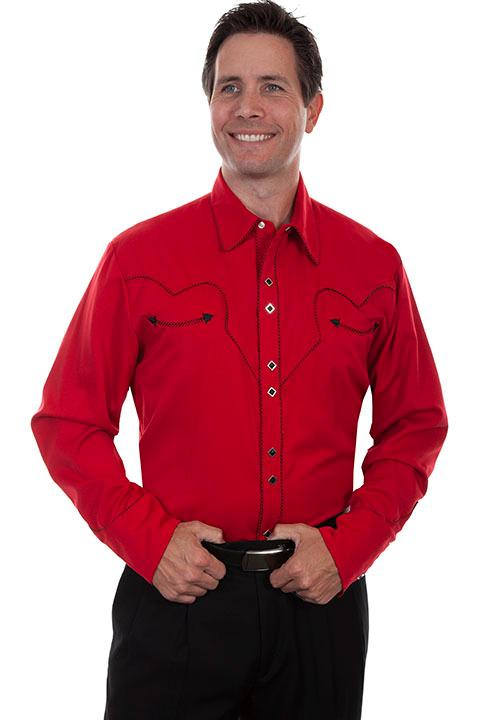 Scully Men's Vintage Western Shirt: Classic Crimson and Black